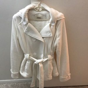 Cream/White fall knit jacket with sherpa lining